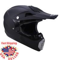 DOT Matte Black Adult Motorcycle Motocross Off-Road ATV MX Dirt Bike Helmet Cap