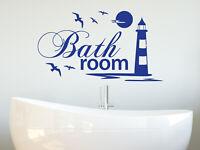 Wandtattoo Badezimmer Schriftzug Bathroom Leuchtturm maritim Meer Möwe Aufkleber
