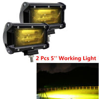 2 x 4D 5'' 72W Yellow LED Car Truck Off Road Tractor Work Light Driving Fog Lamp