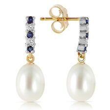 14K. GOLD DIAMOND & SAPPHIRE EARRINGS WITH DANGLING BRIOLETTE PEARLS New Year