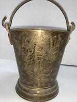 """Vintage Brass Bucket Pail Container Patina Handle Etched Marked India 7.5 """" Tall"""