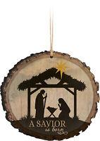 A Savior is Born Nativity Scene Wood Tree Bark 4 inch Christmas Tree Ornament