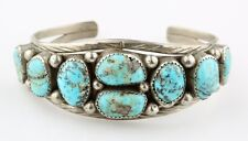 NAVAJO SILVER ROUGH TURQUOISE CUFF BRACELET BY LAURA J DABBS & SONS