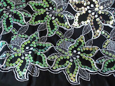 """80s Vintage Sequin Embroidered Hibiscus Fabric 4 yards x 44"""" Black/Green Taffeta"""