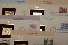 22K Gold Proof Stamp Replica 1990 Set of 5 Olympic Games 1st Day Covs No Address