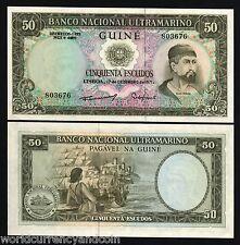 Portuguese Guinea Portugal 50 Escudos P44 1971 Ship Unc Africa Currency Billnote