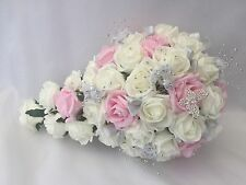 Wedding Flowers Ivory Rose Crystal Bouquet, Bride Bridesmaid, bouquets pink Wand
