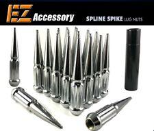 24 PC Solid Spline Spike Lug Nuts Kit | Chrome | 12x1.5 | Dodge Ford GMC w/ Key