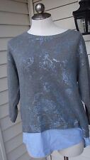 NWT Chico's Sweater Shirt with Collar Gray & Purple Size 2   3/4 Sleeves