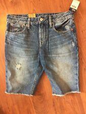 "New Ralph Lauren Polo Boy's Distressed Denim Bermuda Shorts ""Slouch Slim"" Sz 14R"