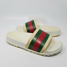 Gucci '72 Pursuit Sport Trek White Rubber Slip On Sandal Slides Men Size 11