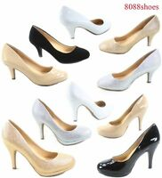 Women's Patent Glitter Round Toe Low High Heel Pump Office Shoes Size 5.5 - 11