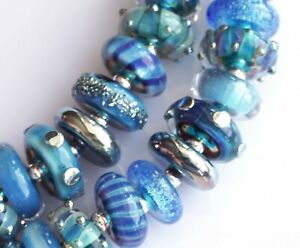 FRISKEY handmade Lampwork Glass Beads, VARIED BLUES !!!