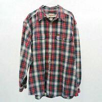 Woolrich Shirt Mens Flannel Plaid XL Red Blue White Cotton Casual