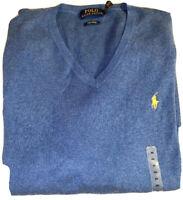 Polo Ralph Lauren Sweater Pima Cotton VNeck Shale Blue Size XXL New NWT $99