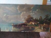 altes Ölbild; Öl auf Leinwand; Landschaft; um 1900