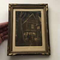 Christmas Eve Midnight Mass / Church Vintage Framed Color Etching