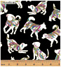 Dog On It: Hot Diggity Small Dogs Fabric by Ann Lauer for Benartex BTY