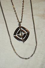Silver Tone Double Chain Necklace w Triangle Diamond Shape 2 pc Pendant