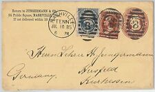 52453 -  UNITED  STATES -  POSTAL STATIONERY COVER added stamps to GERMANY 1885