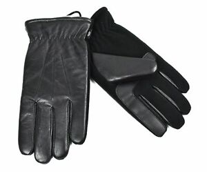 Isotoner Men's Smartouch Sherpa Lining Leather Gloves with Stretch Fleece Palm