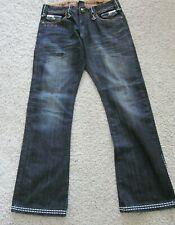 Men's REBEL SPIRIT Jeans Black w/ Orange & White Stitching Skull Brads 32 x 32