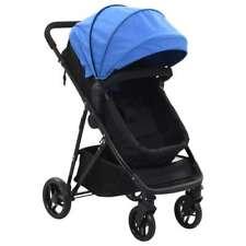 vidaXL Kinderwagen/Buggy 2-in-1 Staal Blauw Zwart Kinderwagens Wandelwagen