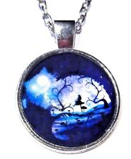 CHESHIRE CAT grinning night Alice in Wonderland silver cab pendant necklace S3