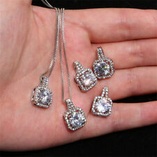Fashion Womens Cubic Zirconia Square Crystal Pendant Box Chain Necklace Choker