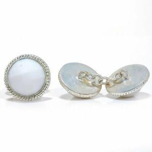 White Coral Gemstone 925 Sterling Silver Cufflink Men's Jewelry LCF-486