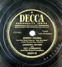 Andrews Sisters - Walt Disney - Make Mine Music 78 RPM - Johnny Fedora A12