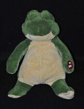 Peluche doudou grenouille vert jaune CMP musical ronflements yeux fermés TTBE