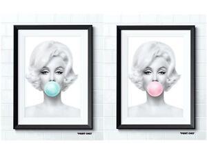 BEAUTIFUL MARILYN MONROE BUBBLEGUM POP ART CRAFT CARD POSTER PRINTS X2