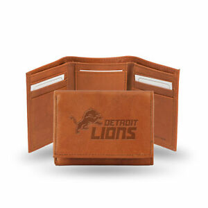 Detroit Lions Team Logo Embossed Brown Leather Trifold Wallet