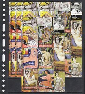 Henri Matisse Painting Arts 2003 Chad MNH set 6 v  M/s perf X 5 Wholesale lot