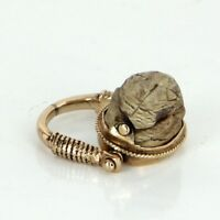 Egyptian Scarab Beetle Flip Ring Vintage 14k Yellow Gold Estate Fine Jewelry 5.5