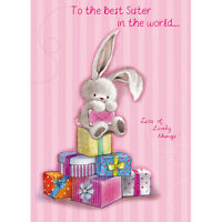 """Sister Birthday Card """"Cute Bunny With Presents Design"""" Size 7"""" x 5""""- RNHH 0075"""
