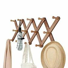 OROPY Vintage Wooden Wall Mounted Coat Rack, Accordion Expandable Clothes Hat