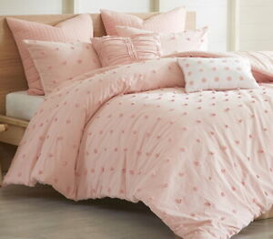 BROOKLN PINK DOTS Twin Queen Cal King COMFORTER SET: TUFTED COTTON DOT QUILTED