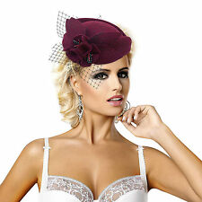 A131 Womens Wine Wool Felt Gatsby Hat Fascinator Church Dress Wedding Tea Party