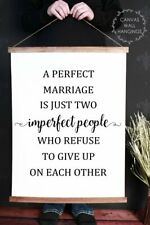 Wood & Canvas Wall Print,  A Perfect Marriage Is Just.. Home Decor Wall Hanging