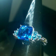 TURQUOISE CREATED PRINCESS CUT  SAPPHIRE CLUSTER  SIZE T