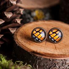 Tiny monarch butterfly wing earrings, handmade stud earrings post earrings brass