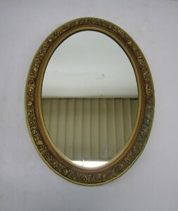 Vtg Hollywood Regency Bathroom Medicine Cabinet Oval Mirror Door 2 Shelf Storage