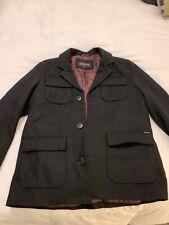 Guess XL Mens Black Heavyweight Wool Coat Jacket Winter Military Button