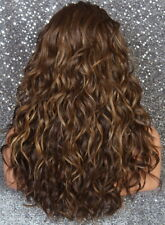 Human Hair Blend Full Mono Lace Front Wig Wavy Brown mix Heat OK WBCY 8/27/613