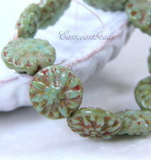 Dahlia Flower Coin Beads, 14mm, Turquoise w/Picasso Finish, Czech Beads 5 Pieces