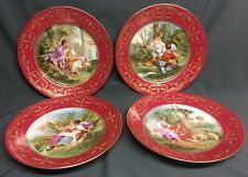 """Antique Set of 4 Hand Painted J.Blancher Touze.& Co 9 1/2"""" Cabinet Plates Signed"""