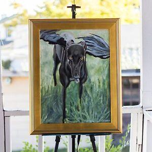 "Original Oil Painting of a Greyhound ""Amor Vincit Omnia"", 18x24 Dog Portrait"