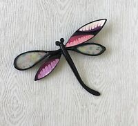 Unique vintage style  Dragonfly brooch pin  enamel on metal